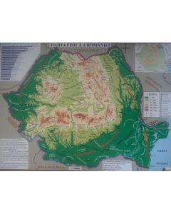 Harta fizica a Romaniei + Harta administrativa a Romaniei 1:2.300.000