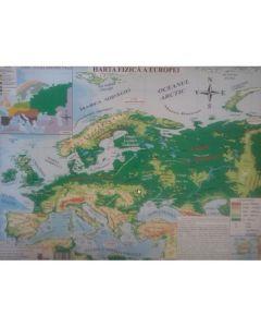 Harta fizica a Europei + Harta politica a Europei 1:20.000.000/1:22.000.000