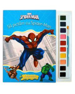 Sa pictam cu Spider-Man - Carte de colorat cu pensula si acuarele