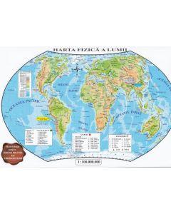 Harta politica a lumii + Harta fizica a lumii (pliata)