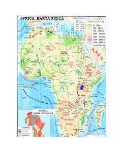 Africa + Australia  - Harta fizica 1:40.000.000 (pliata)