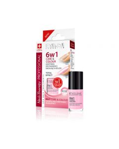 Tratament unghii Eveline 6in1 Care and Colour Rose 5 ml