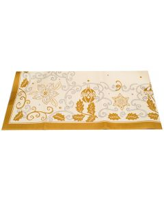 Napron de masa Craciun, globuri si flori, 84x84 cm, Duni, galben