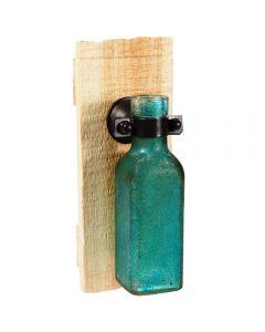 Sticla pe suport de lemn, vaza de agatat pe perete, PTMD Collection, turcoaz, 15 cm