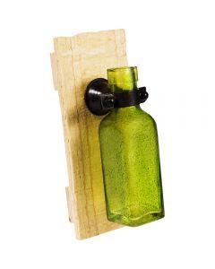 Sticla pe suport de lemn, vaza de agatat pe perete, PTMD Collection, verde, 15 cm