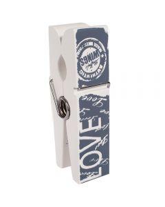 Clips decorativ fotografie, suport birou pentru notite, poze, lemn, h 19 cm, Maxx