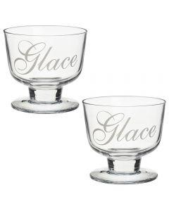 Set 2 cupe pentru inghetata, pahare sticla pentru servire salata de fructe, deserturi, 300ml, Gusta, 9.5 x 8 cm