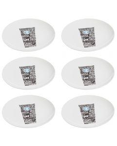 Set 6 farfurii desert/aperitive, ceramica, 20 cm, Grand Chef, alb, model cana