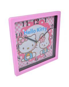 Ceas de perete, patrat, Maxx, rama roz, cadran roz-alb, Hello Kitty, 1-36