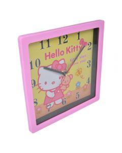 Ceas de perete, patrat, Maxx, rama roz, cadran galben, Hello Kitty, 1-36