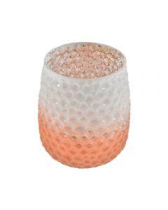 Vaza decorativa pentru flori, sticla, cu model fagure, h 14 cm, d 9 cm, portocaliu degrade, Maxx