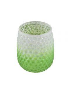 Vaza decorativa pentru flori, sticla, cu model fagure, h 14 cm, d 9 cm, verde degrade, Maxx