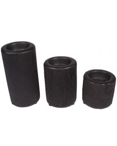 Suport decorativ lumanare ceramica neagra, format din 3 pahare suport pentru trei lumanari ambientale, Sweet Passion