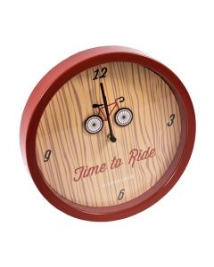 Ceas de perete Time to Ride, Kikkerland, rosu, 25.4x3.8 cm