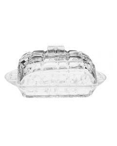 Untiera cu capac din sticla, recipient pentru unt , ultrarezistent, Kaveh, transparent, L = 17cm, l = 11cm, h = 8 cm