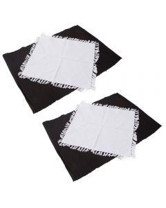 Suport farfurie, placemat/napron pentru masa, 2 buc/set+servetele, bumbac, 48 x 33 cm, alb/negru, LeL
