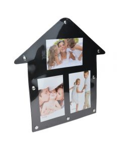 Rama foto magnetica Stick n Look, 3 fotografii, plastic, negru, 30 x 30 cm