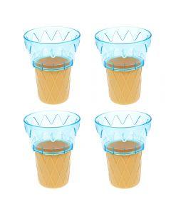 Cornet din plastic, cupa inghetata sau desert, set de 4, albastru, 11 cm