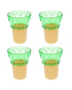 Cornet din plastic, cupa inghetata sau desert, set de 4, verde, 11 cm