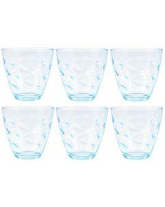 Set 6 pahare din sticla, forma conica, design italian, Bormioli Rocco, 260 ml, bleu