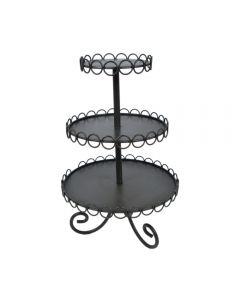 Etajera metalica, platouri rotunde etajate pentru servire prajituri, fructe, candy bar, suport etajat pentru decoratiuni, J-Line, H47 cm, negru