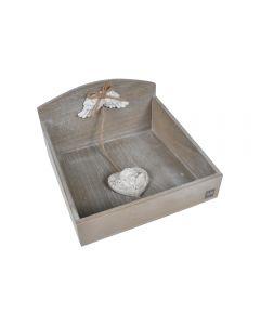 Suport vintage cu accesorii ceramica, cutie din lemn pentru servetele de masa, Maxx, gri-alb, 20 x 19 cm