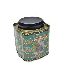 Cutie metalica pentru alimente, recipient cu capac, pentru ceai, cafea, dulciuri, model vintage, Hamptons, 1.3 L, verde, 10.5x10.5x12 cm