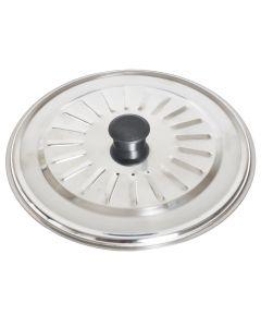 Capac din inox, capac pentru oala, cratita sau tigaie cu diametrul de 22 cm, maner din plastic, Maxx, argintiu