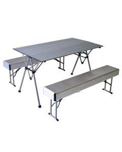 Masa pliabila pentru camping, gradina sau terasa, cu 2 banci, din aluminiu si otel, set masa plianta picnic cu banchete, pentru 6 persoane