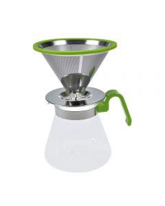 Filtru de cafea prin picurare stil barista cu filtru dublu inox+cafetiera 600 ml cu capac+lingurita dozatoare si suport filtru, Randwyck