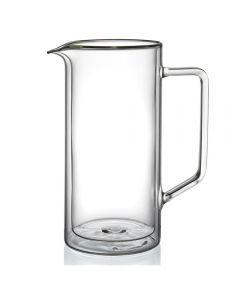 Carafa/cofer din sticla cu pereti dubli, design modern, h 21 cm, d 10 cm, 1000 ml, Klasique