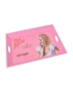 Tava decorativa dreptunghiulara, lemn, stil vintage, tava servire, Pin-up, roz, 49 x 34 x 6 cm
