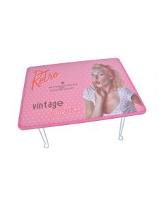 Tava servire cu picioare rabatabile, masuta din plastic cu picioare metalice, pliabila, vintage, model Retro, Pin-up, roz, 44 x 30.5 x 33 cm