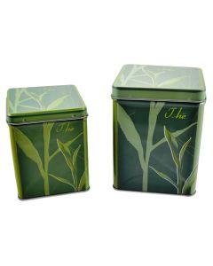 Set doua cutii metalice depozitare alimente cu capac etans, recipient pentru cafea/ceai, 440 ml si 810 ml, Maxx