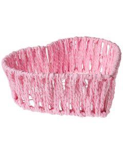 Cosulet Paste, cos decorativ oua Paste, din sarma cu hartie impletita, forma de inima, Accentra, 18 x 18 x 6 cm, roz