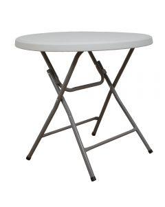 Masa plianta rotunda pentru Banchet / Evenimente / Catering, picioare metal pliabile, d 80 cm, h 74 cm, alb, Atelier