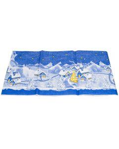 Napron de masa Craciun, sat, 84x84 cm, Duni, albastru
