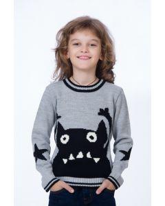 Pulover tricotat BE YOU gri cu mosntrulet negru