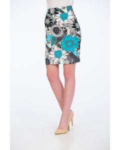 Fusta Be You, cu print floral aqua