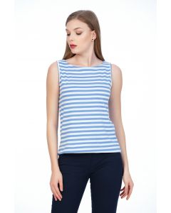 Tricou Be You, fara maneci cu dungi bleu