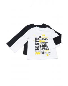 Set 2 tricouri mânecă lungă bebe 6/36 luni