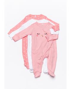 Set 3 pijamale nou născut 0/6 luni Colecție Nouă