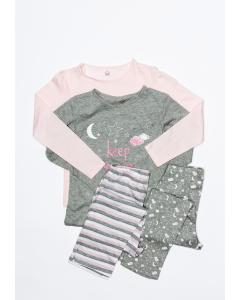 Set 2 pijamale mânecă lungă fete 2/10 ani