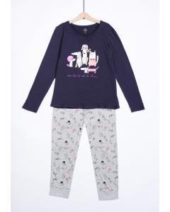 Pijama mânecă lungă fete 9/14 ani