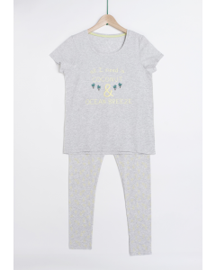 Pijama damă mânecă scurtă și pantaloni lungi