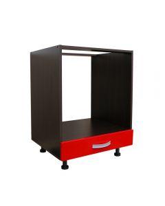 Corp pentru cuptor incorporabil cu sertar Zebra, wenge/rosu lucios, fara blat, 60 x 82 x 57