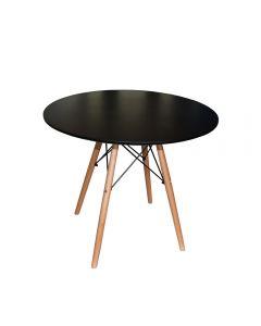 Masa Eames MDF rotunda cu picioare din lemn, 80 x 72 cm