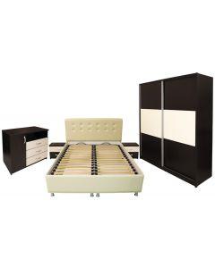 Dormitor Milano cu pat beige 160x200 cm, Wenge / Vanilie