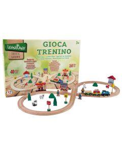 Set trenulet Globo 36573 din lemn cu traseu 2.65 metri si 40 piese