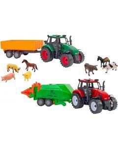 Set 2 tractoare Globo cu frictiune, trailer si 7 animale